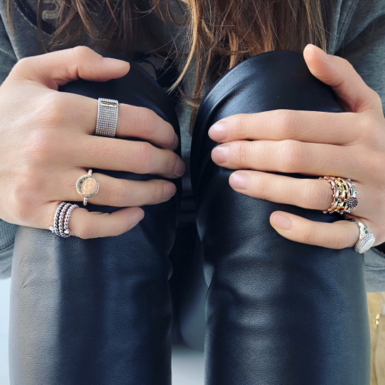 Leather and rings